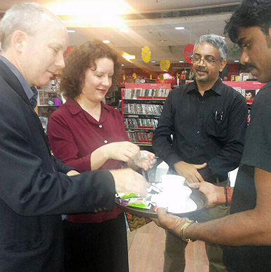 So fitting! Britain's iconic and most loved tea brand Typhoo being served to British Deputy High Commissioner Mr Ian Felton and his wife - Oxford Bookstore Bangalore