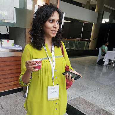 Typhoo rejuvenates the bright minds at JSFoo 2014, Yamini Natti, Co-Founder of Vymo Solutions' relaxed face says it all at  Bangalore, India.